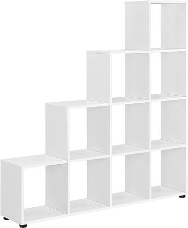 en.casa] Estantería en Forma de Escalera estilosa - Estantería de Almacenamiento con 10 compartimientos - Estantería de pie 138 x 142 x 29cm - Armario - Blanco: Amazon.es: Hogar