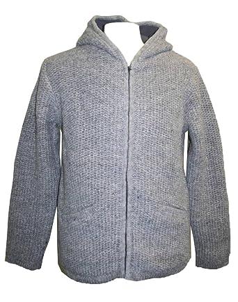 54e313bcaef250 Agan Traders UF5 Unisex Lamb Wool Fleece Lined Sherpa Jacket Sweater  Light  Grey