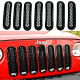 FuriAuto Black Front Grill Mesh Grille Insert Kit For Jeep Wrangler Rubicon Sahara Jk 2007-2015 7PC