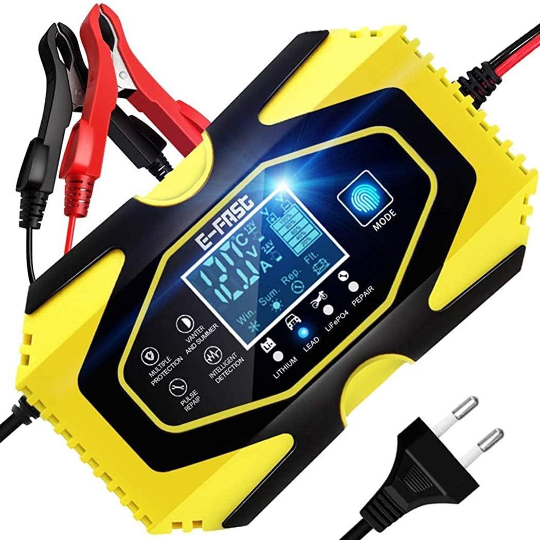 ZHITING Cargador de Batería Coche 12 V/6A 24 V/3A Plomo Ácido Cargador de Batería con Pantalla LCD Battery Charger para Automóviles Motos (Amarillo)