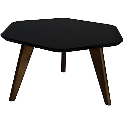 2xhome – Black – Hexagon End Table Modern 100 Real Dark Chocolate Oak Wood Legs Hardwood High Gloss Hexagon Table Top Accent Table End Table Or for Coffee Table