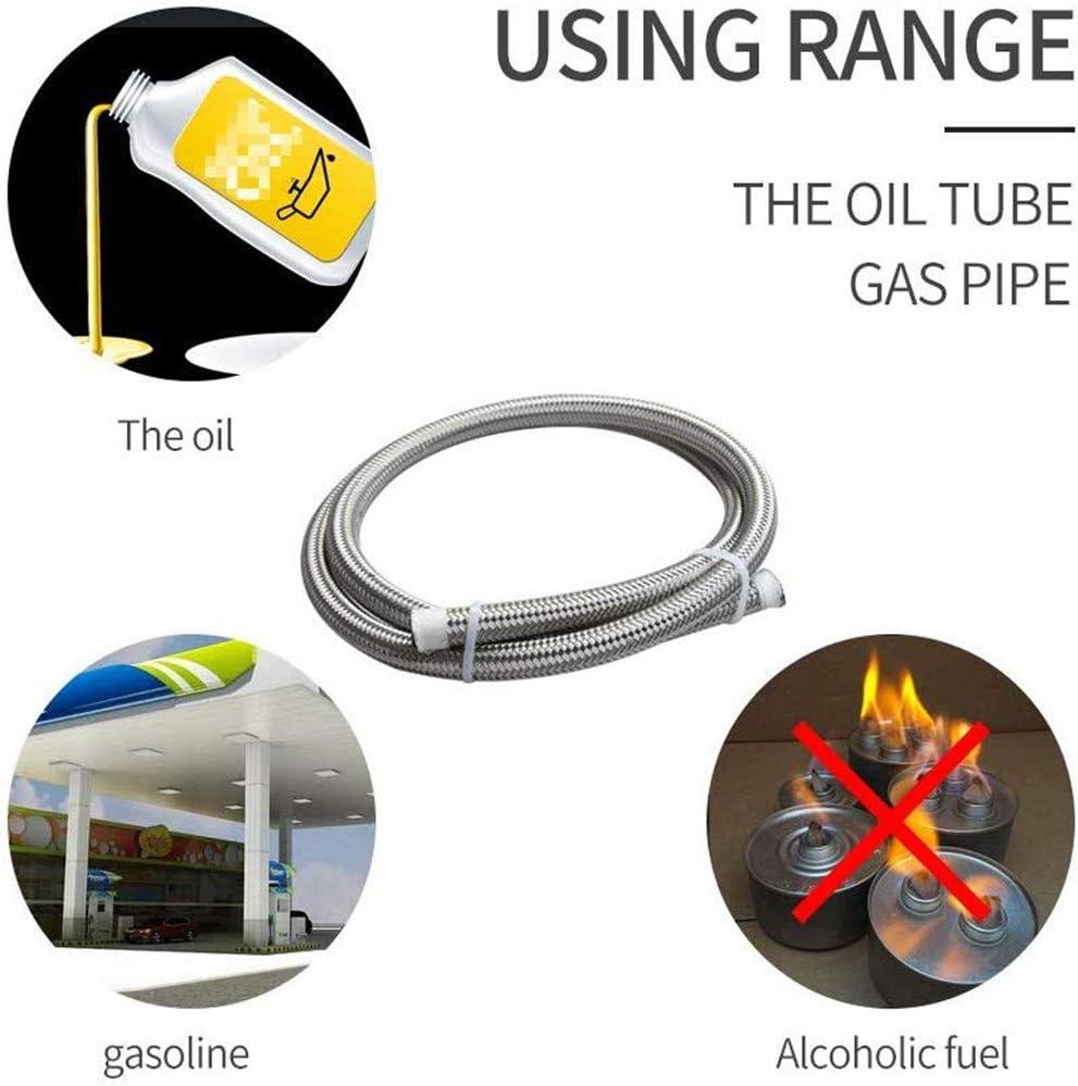 AN4 AN6 AN8 AN10 AN12 Tubo flessibile per carburante in acciaio inossidabile intrecciato Olio Tubo freno per benzina Tubo flessibile 1//3 di metro Argento AN10