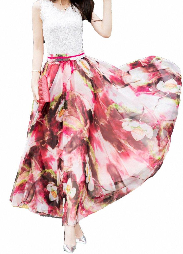 Afibi Women Full/Ankle Length Blending Maxi Chiffon Long Skirt Beach Skirt (Medium, Design F)