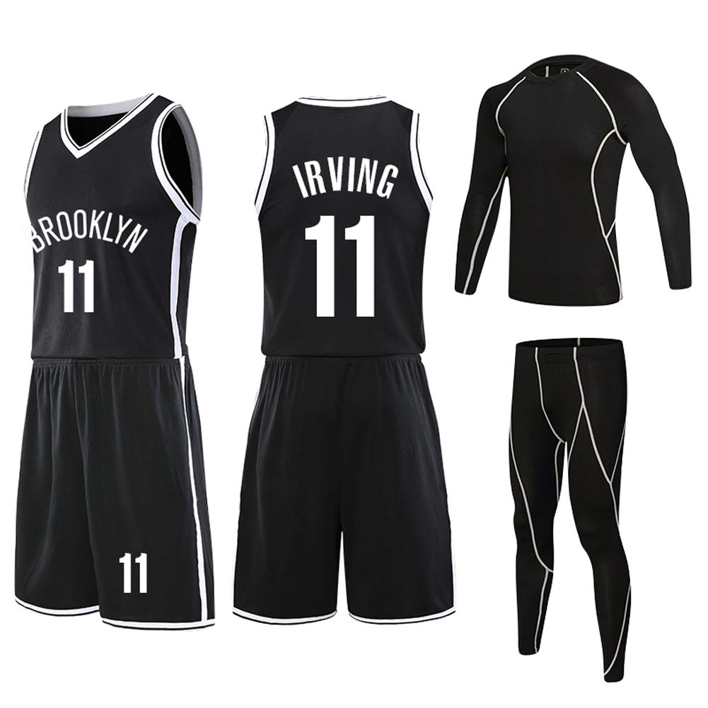 NO.11 Irving Kids Basketball Jersey Nets Basketball Shirt Vest Top Summer Shorts 4pcs for Boys and Girls