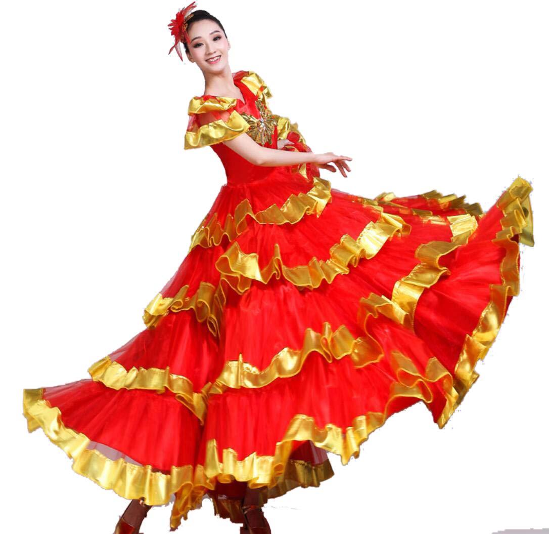 SMACO Traje de Danza del Vientre Femenino,Flamenco Falda Disfraz ...