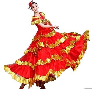 SMACO Traje de Danza del Vientre Femenino,Flamenco Falda ...