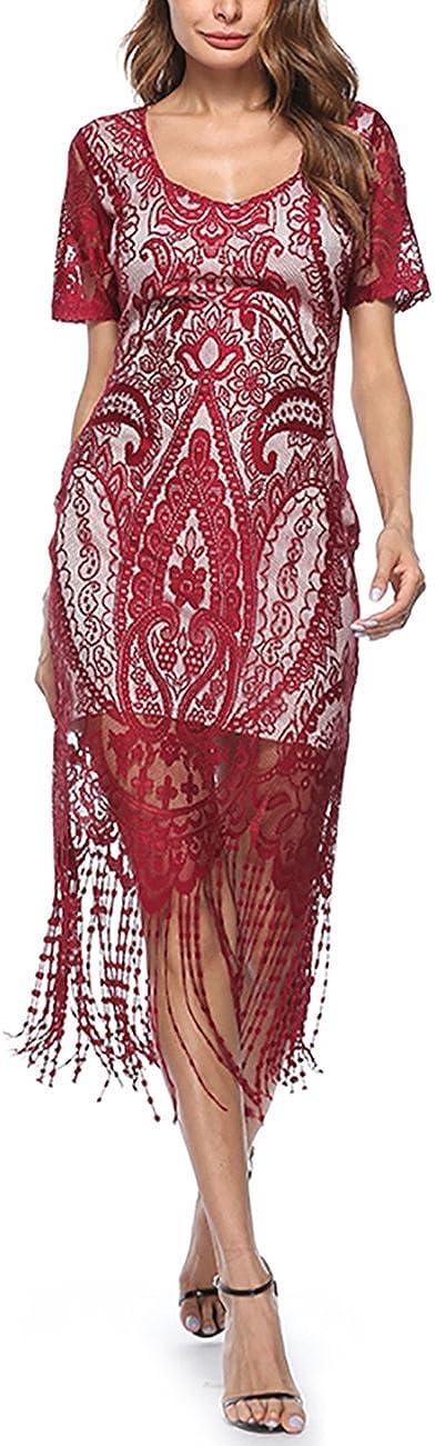 TALLA XXL(ES 46-48). FeelinGirl Vestido Largo de 1920s Vintage con Fleco Encaje Vestido de Manga Corta Fiesta para Mujer Rojo XXL(ES 46-48)