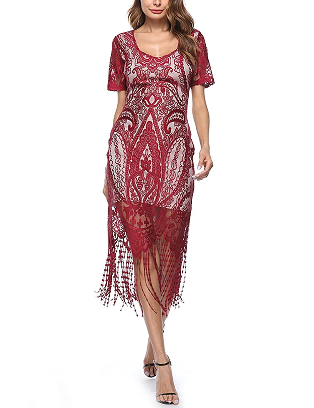 TALLA XL(ES 44-46). FeelinGirl 1920s Vintage Fleco Encaje Vestido de Fiesta para Mujer Rojo XL(ES 44-46)