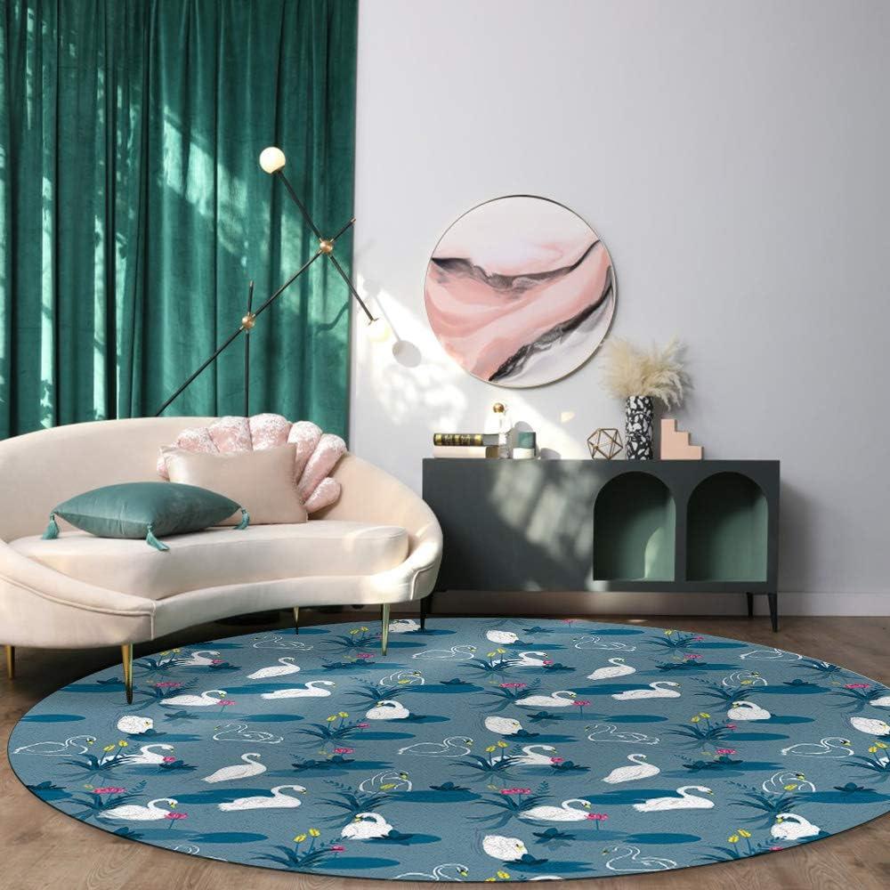 Round-Modern-Flannel-Microfiber-Non-Slip-Rug-With-Swan-Design