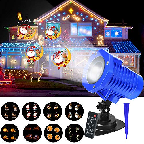 (Christmas Projector Lights, LED Projection Lights, IP65 Waterproof Animated Projector Light with Remote Control for Halloween, Party, Thanks Giving, Birthday and Garden Decoration)
