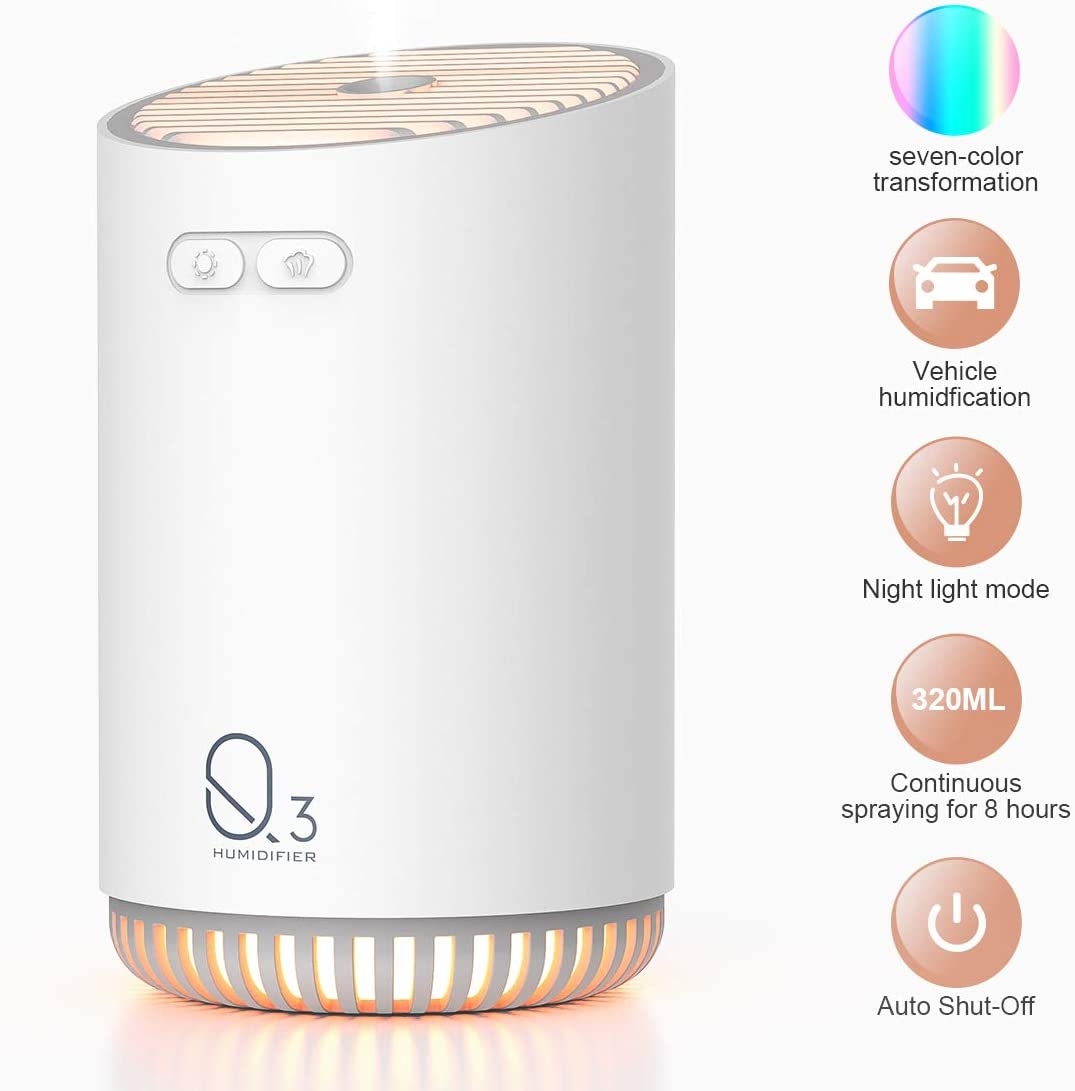Portable Mini Humidifier,Humidifiers For Babies, Office Desk Humidifier,USB Personal Desktop Humidifier With 7-Color LED Night Light,Quiet Humidifier,Waterless Auto Shut-Off,2 Mist Modes, (White)