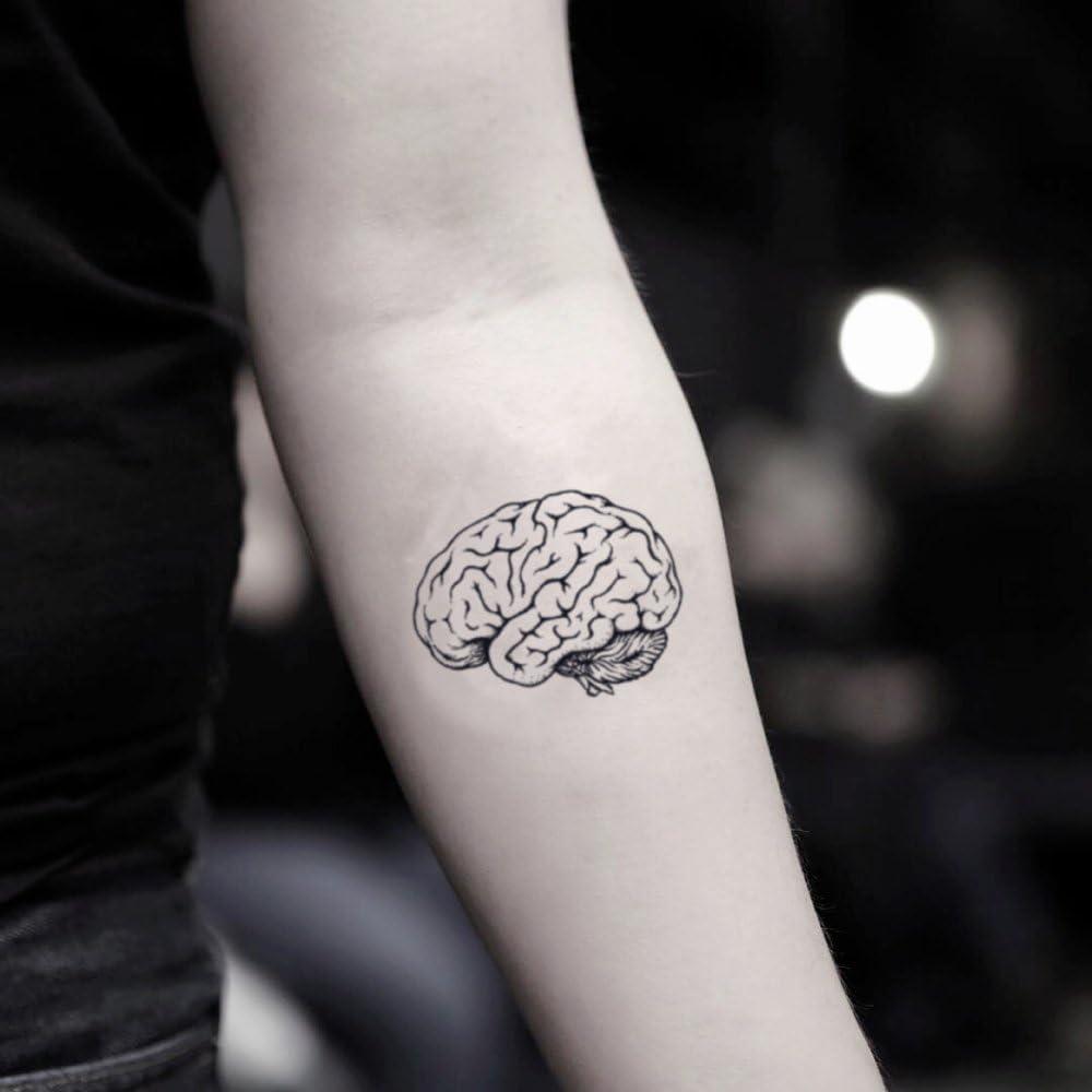 Tatuaje Temporal de Cerebro anatómico (2 Piezas) - www.ohmytat.com ...