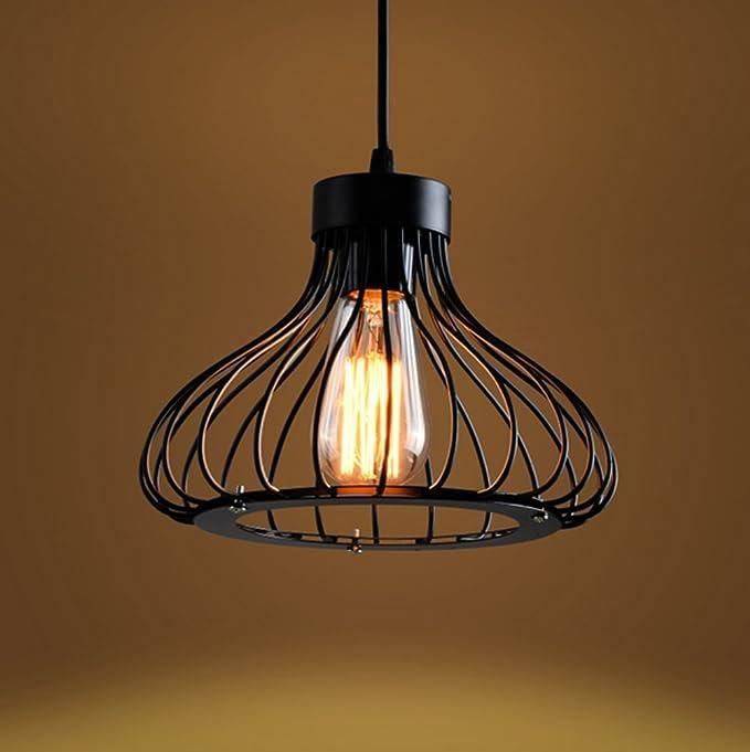 Black Industrial Iron Cage Hanging Ceiling Lamp Pendant Light Holder Shade Decor