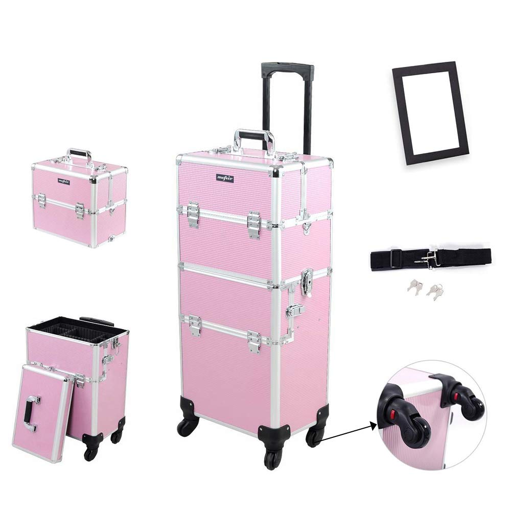 Mefeir 2-in-1 Rolling Makeup Train Case,4 Wheels Removable+W/Extra Bottom Lid+Shoulder Strap+Mirror,Lift Handle Lockable Travel Cart Trolley Beauty Salon Cosmetic Organizer(Pink)