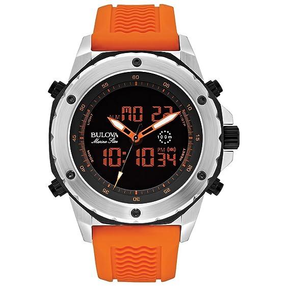 Bulova Marine Estrella Hombres Reloj de Cuarzo con Esfera Negra analógico/Pantalla Digital y Naranja Correa de Caucho 98 C118: Amazon.es: Relojes