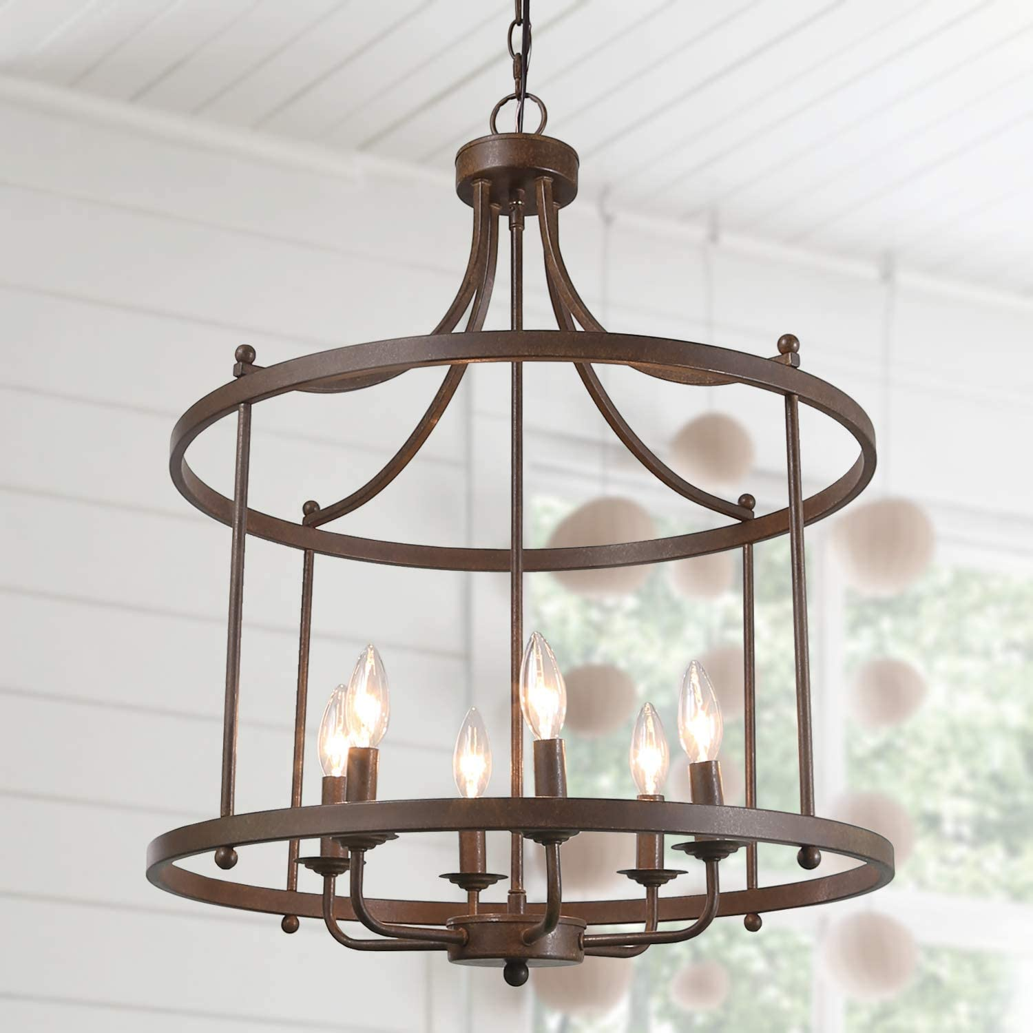 LOG BARN Drum Lightening Chandelier Antique Bronze Finish, Medium Laundry Room, 21.6 Foyer Light Fixture