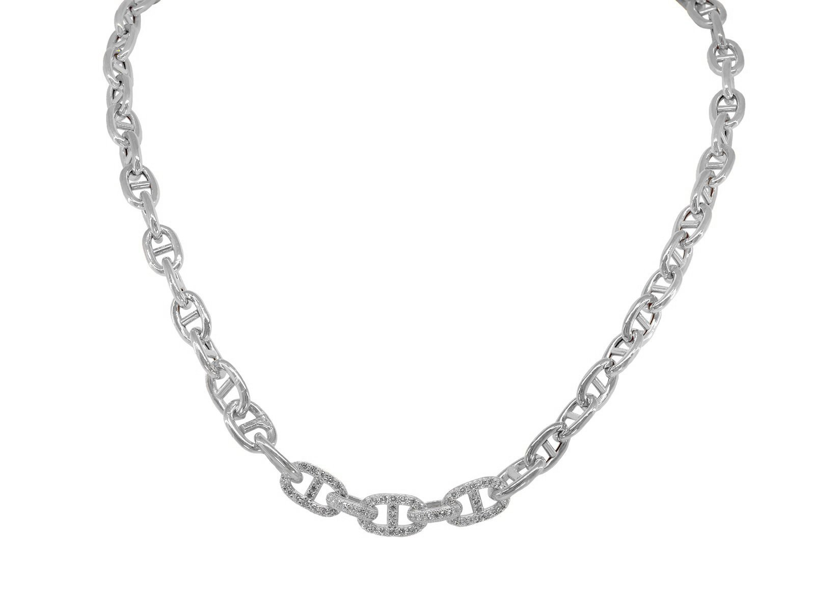 Fronay Co .925 Sterling Silver Designer CZ Marine Links Rhodium Plated Necklace, Length 17''