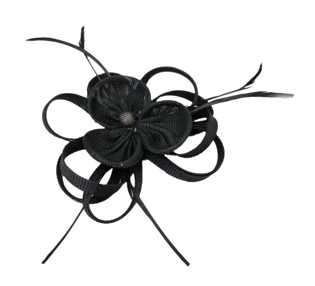 Ahugehome Fascinator Headband Hairclip Flower Feather Netting Mesh Cocktail Hat Party (JB Black)