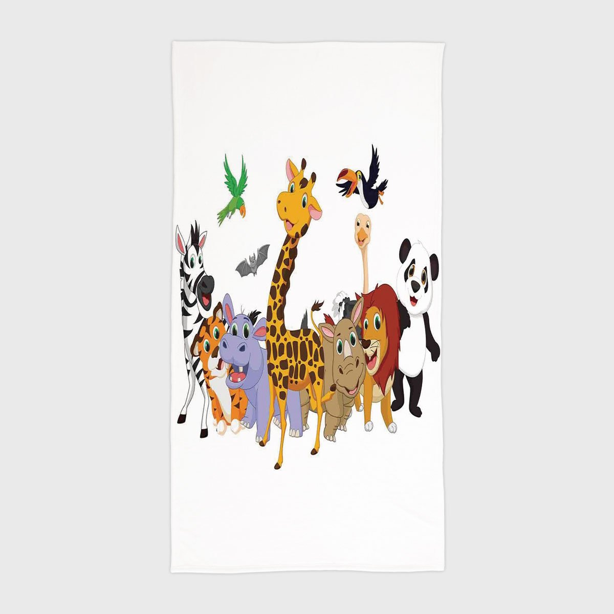 One Side Printing Hotel SPA Beach Pool Bath Hand Towel,Kids Colorful Jungle Animals Hippo Bat Parrot Giraffe Zebra Rhino Panda African Safari Themed Decorations Decorative,for Kids Teens and Adults