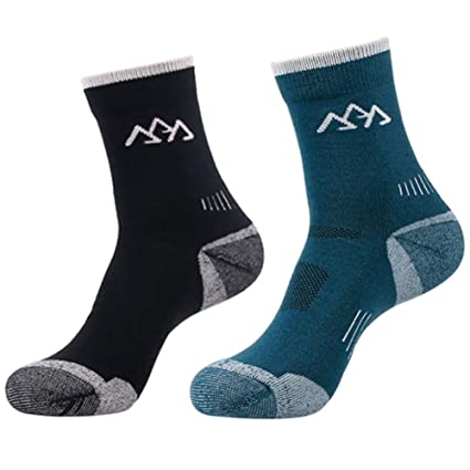 f8669d772d 2 Pairs Men Women Merino Wool Blend Hiking Socks - Warm, Breathable, No  Blister, Thermal Terry Cushion, for Winter Outdoor Sports Running Walking  ...
