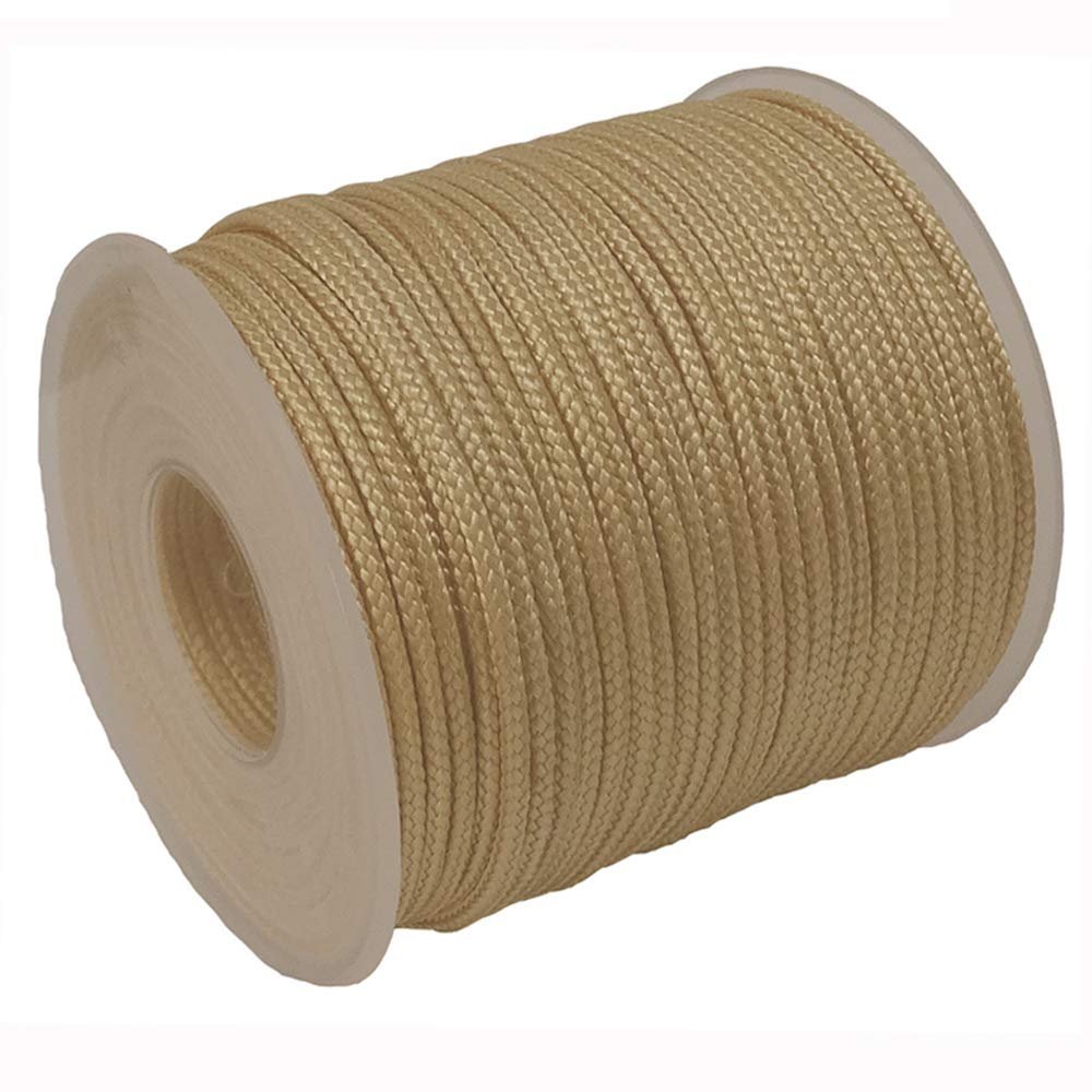 Y-Axis Roll of 60 Yards 2.0mm Light Gold Braided Nylon Lift Shade Cord with 6 Pack White Wood Cord Knobs Soft Tape