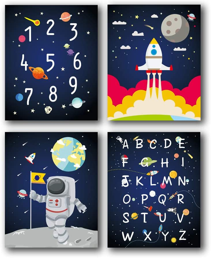 "HPNIUB Outer Space Art Prints Funny Painting, Set of 4 (8""X10"" Solar System,Rocket,Stars,Clouds Canvas Poster, Alphabet Numbers Educational Wall Art for Nursery Classroom Kids Toddlers, No Frame"