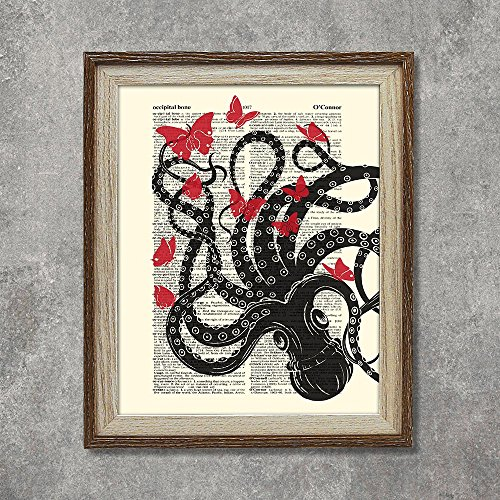 Book Poster Red (SUMGAR Black Octopus Red Butterflies Illustration Vintage Dictionary Page Book Art Prints 8x10)