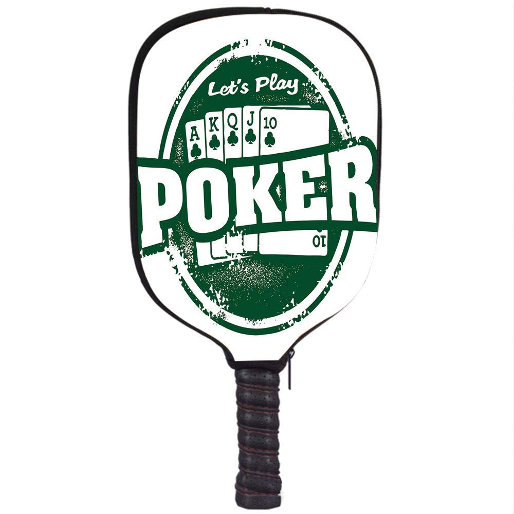 Amazon.com : VANKINE Neoprene Premium Pickleball Paddle Racket Cover Case, Poker Tournament Decorations, Lets Play Poker Stamp Royal Flush Grunge Vintage ...