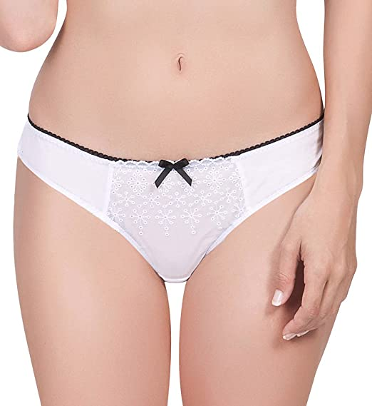 82ce49e3cdf4 AFFINITAS Women's Nelly Sexy Sheer Mesh Thong Panty White at Amazon ...