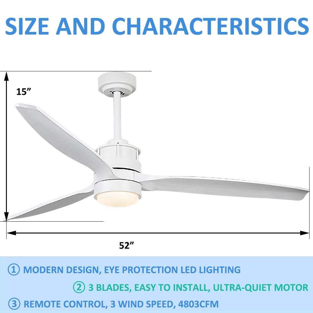 Andersonlight 52 Ceiling Fan with LED Light Kit, Remote Control, 3 Wood Blades, White
