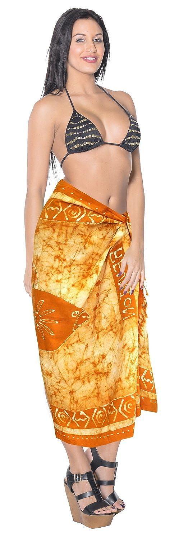 La Leela glatt sanft alle Batik Fisch Orange Rayon Hand in einem Strand Abnutzung/Badeanzug vertuschen/sundress/Bikini Schlitz Rock/Damen wickeln Pareo/plus Größe Badeanzug 198x99 Sarong Kleid cms