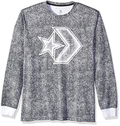 Converse Men's Distressed Star Chevron Long Sleeve T-Shirt, Black, S