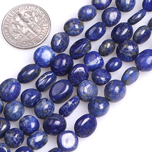 (GEM-Inside Gemstone Loose Beads Genuine Natural Lapis Lazuli 6x8mm Freeform Potato Shape Energy Stone Power Beads for Jewelry Making 15