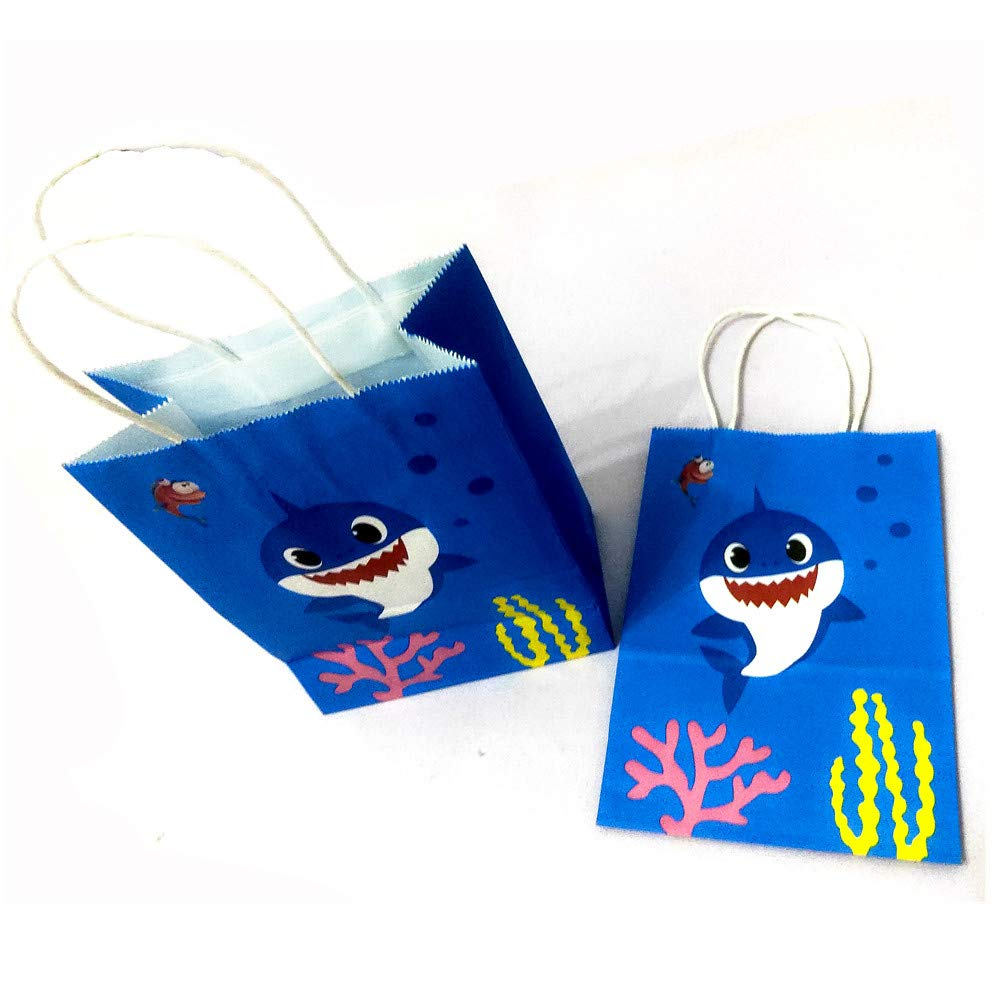 12 Packs Shark Party Bags for Baby Birthday Favor Kids Candy Gifts Paper Bag,Shark Themed Party Supplies Birthday Decoration,Shark Party Faoves Treat,Candy and Goodie Bags