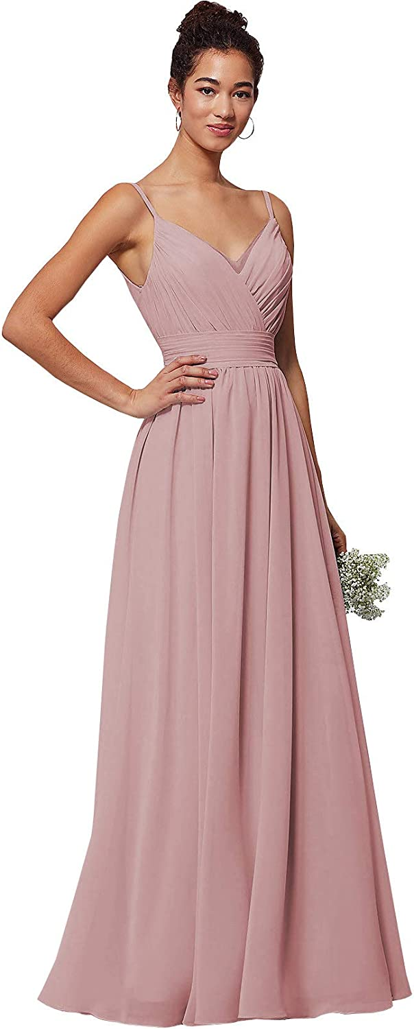 WuliDress Women's Spaghetti Strap V Neck A Line Pleated Bridesmaid Dresses Long Chiffon Prom Party Gown 61rPMO1I00L