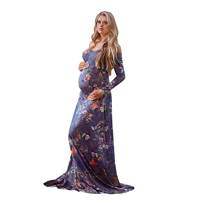 bc598fe3765 Amazon.com: Minisoya Women Pregnant Gown Maternity Photography Props Off  Shoulder Ruched Nursing Floral Boho Long Maxi Dress: Clothing