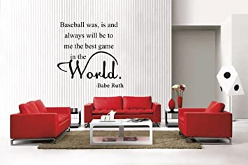 Newclew Babe Ruth Wall Quote Baseball The Best Game Removable Vinyl Wall Decal Home D Cor Large