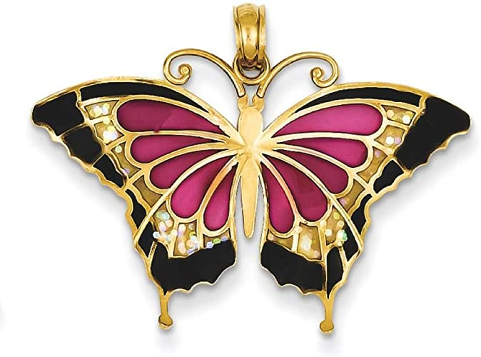 14k Yellow Gold Blue Stained Glass Wings Butterfly Charm Pendant 24mmx31mm