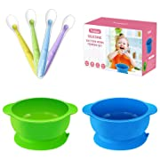 Best Suction Baby Bowls for Toddler-2 Pack Silicone Suction Bowls with 4 Pack Soft Tip Silicone Baby Spoons, Stay Put Spill Proof Baby Feeding Bowls Set-BPA Free-Perfect Baby Shower Gift Set