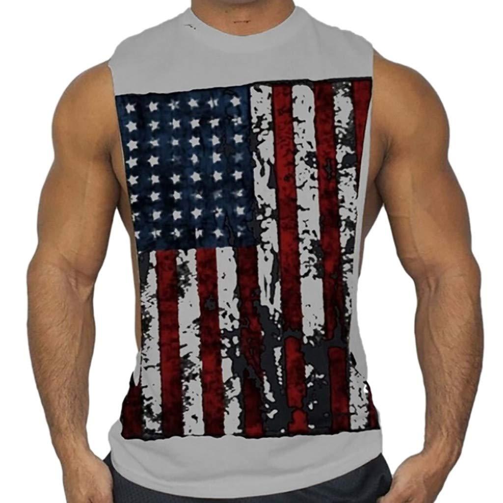 Men Tanks Tops Shirt Printed Sports Vest Sleeveless Bodybuilding Tee Workout Shirts (S, Gray)
