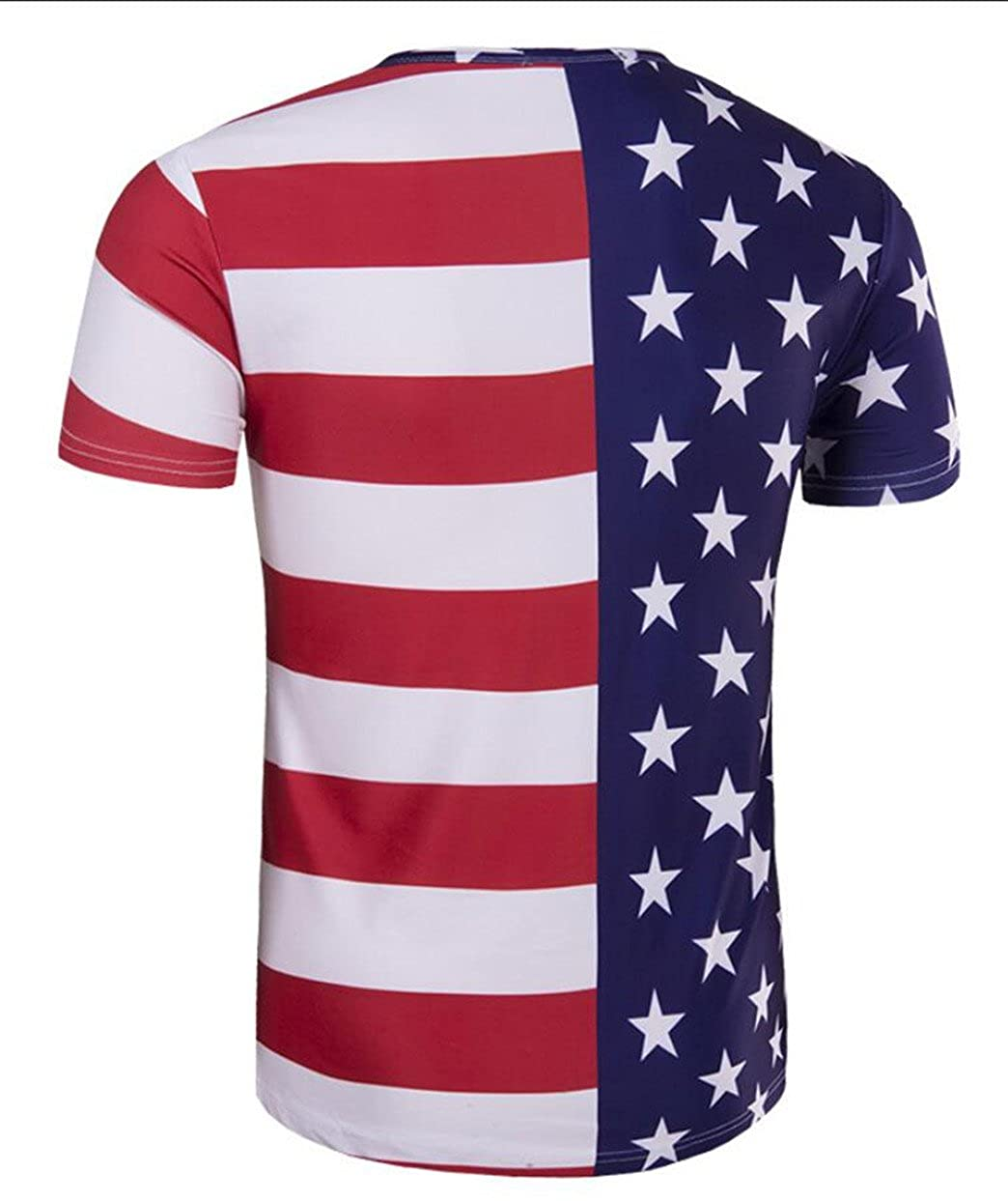 yibiyuan Mens Rounded Collar Short Sleeve Hit Color American Flag Printed Stitching T Shirt