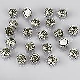 olliBeads (TM) 50 Pcs Crystal Ringed Sew on