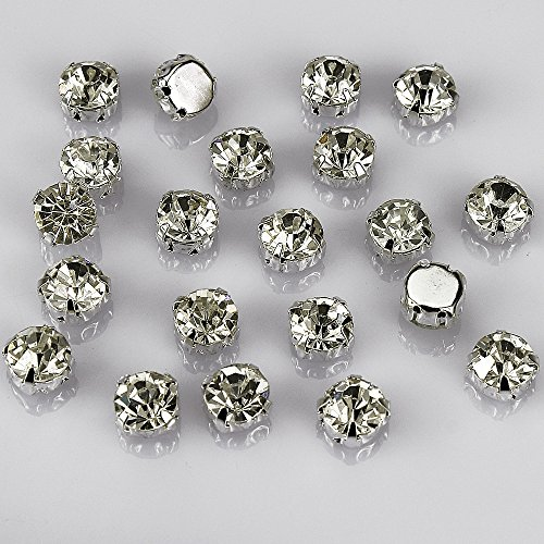 olliBeads (TM) 50 Pcs Crystal Ringed Sew on Rhinestone Czech Glass with Silver Plated Brass Base Prongs Cup, White 10 mm ()