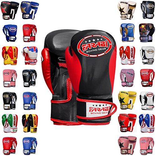 Kids Junior Muay Thai Kick Boxing Training MMA Punching Bag (2OZ, Black Red) ()