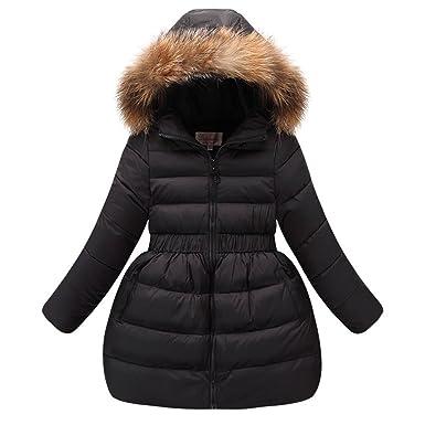 2b9908d5f21c FREE FISHER Girls Down Jacket Winter Sweet Dress Coat Bubble Fur Hooded  Puffer Coat Parkas Black