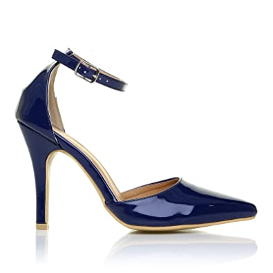 NEW YORK Navy Blue Patent Patent Ankle Strap Pointed High Heel Court Shoes  Size UK 3