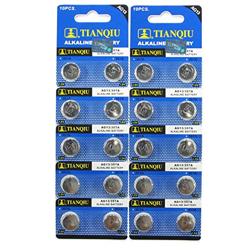 Button Alkaline Cell Battery - AG13/LR44 Alkaline Button Cell Battery - 20 pack