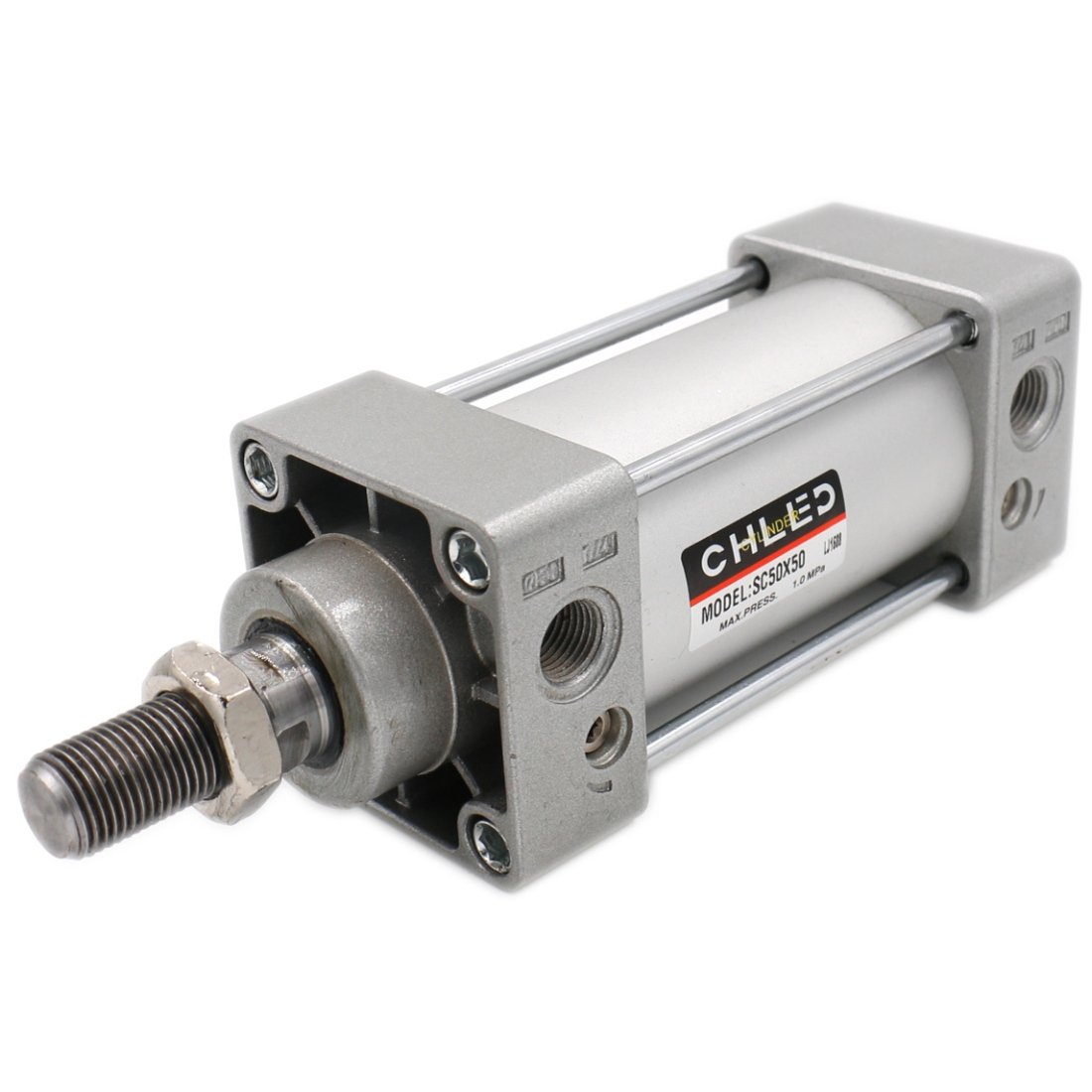 Baomain Pneumatic Air Cylinder SC 50 x 50 PT 1/4, Bore: 50mm, Stroke: 50mm, Screwed Piston Rod Dual Action 1 MPA