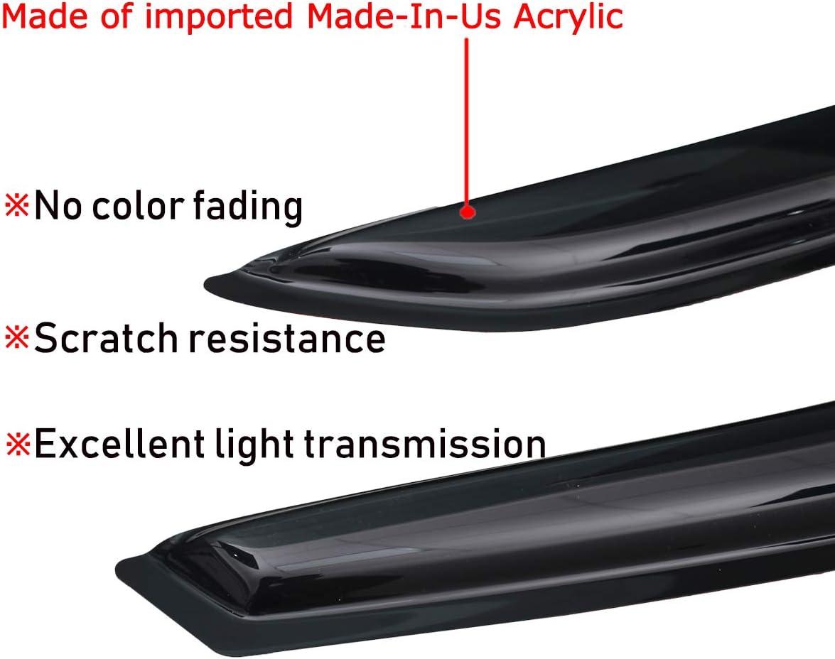 Lightronic WV94253 Tape-on Window Visors Rain Guards Smoke Tint 4PCS Set Fit for 2007-2012 Hyundai Santa Fe