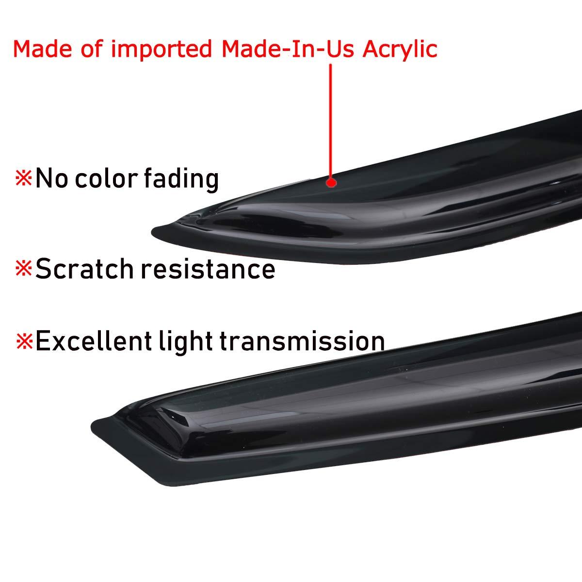 Lightronic Side Window Deflector WV94257 Vent Visor for Mazda 3 Sedan 2010-2013 4 Piece Set